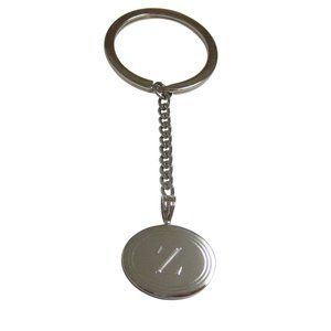 Etched Oval Letter Z Monogram Pendant Keychain